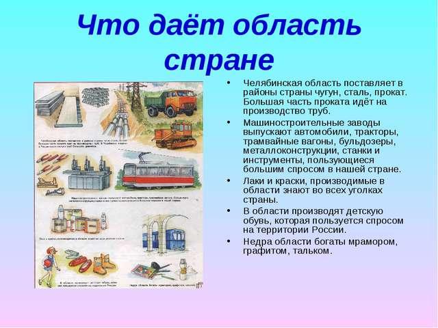 Что даёт область стране Челябинская область поставляет в районы страны чугун,...