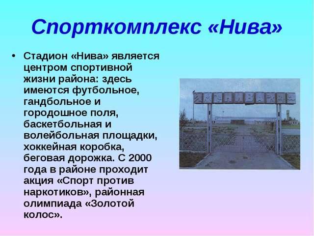 Спорткомплекс «Нива» Стадион «Нива» является центром спортивной жизни района:...