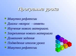 Программа урока Минутка рефлексии Диалог «вопрос - ответ» Изучение нового мат
