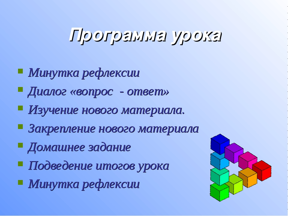 Программа урока Минутка рефлексии Диалог «вопрос - ответ» Изучение нового мат...
