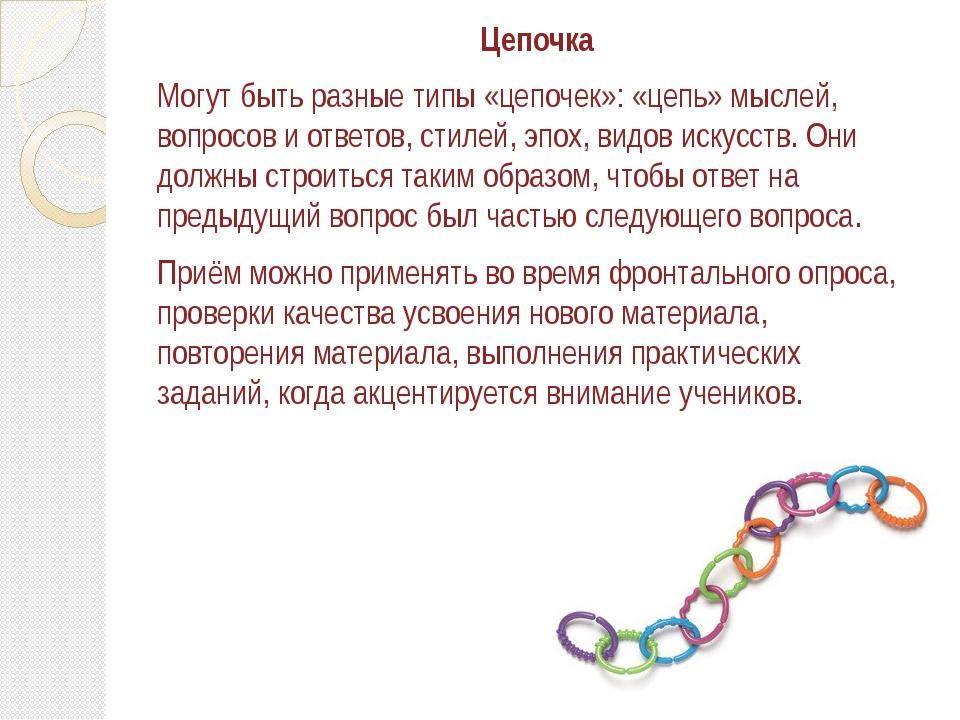 Цепочка Могут быть разные типы «цепочек»: «цепь» мыслей, вопросов и ответов,...