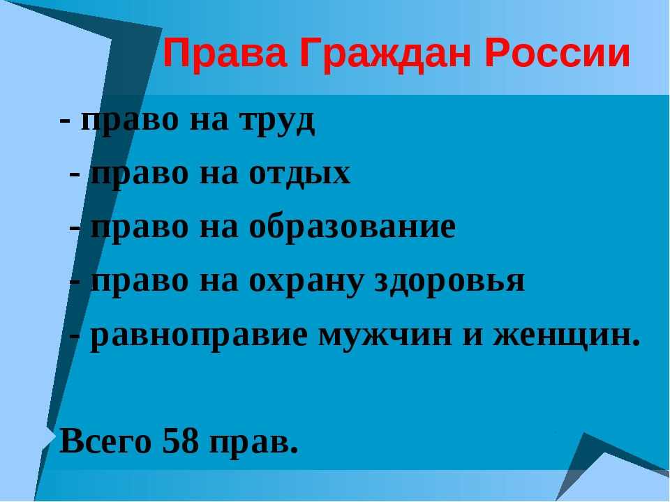 Права Граждан России - право на труд - право на отдых - право на образование...