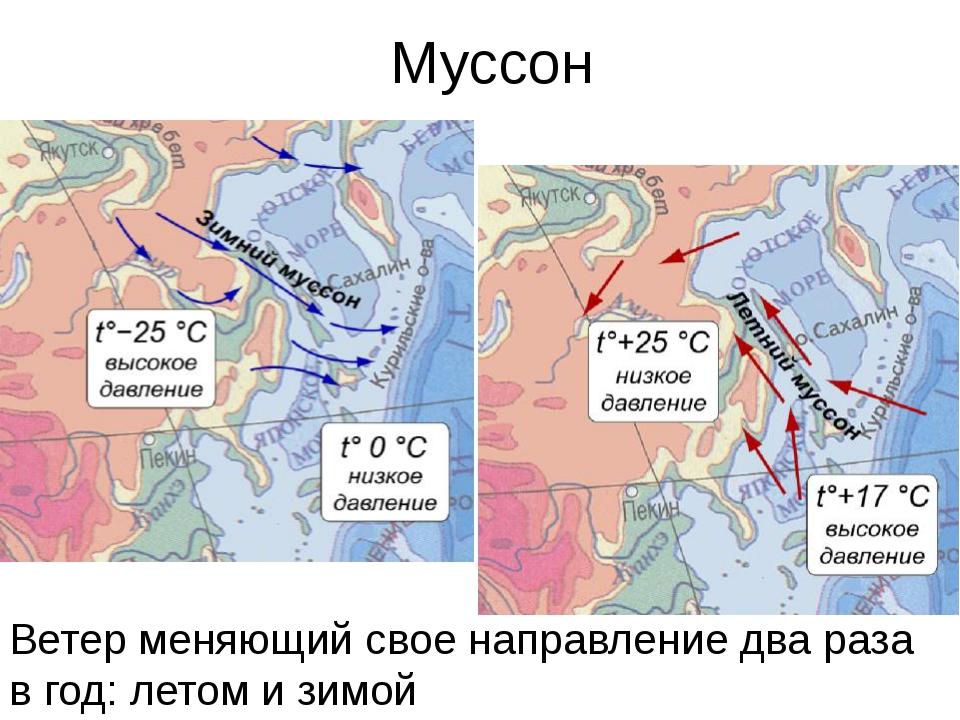 Муссон Ветер меняющий свое направление два раза в год: летом и зимой