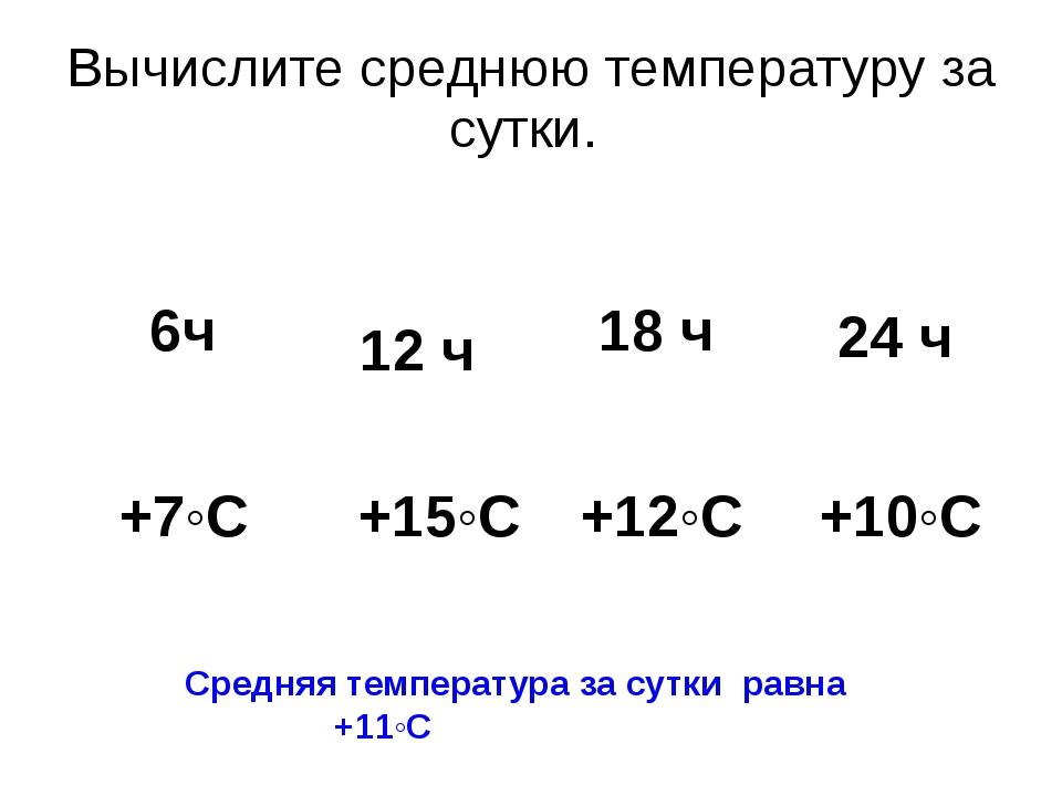 Вычислите среднюю температуру за сутки. Средняя температура за сутки равна +1...