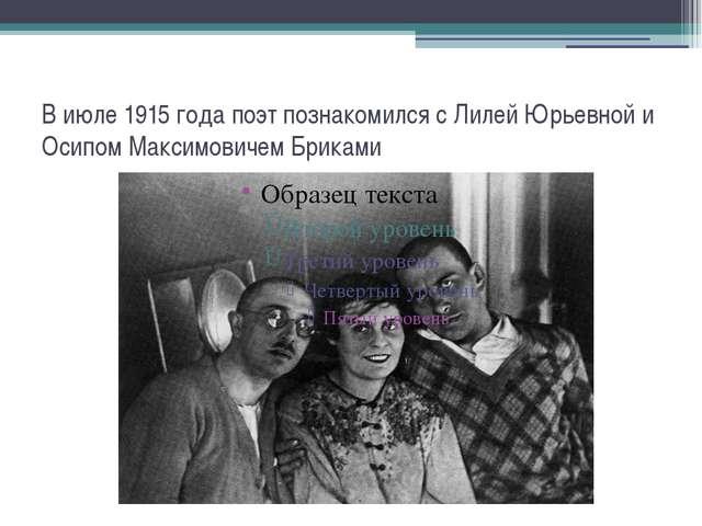 В июле 1915 года поэт познакомился с Лилей Юрьевной и Осипом Максимовичем Бри...