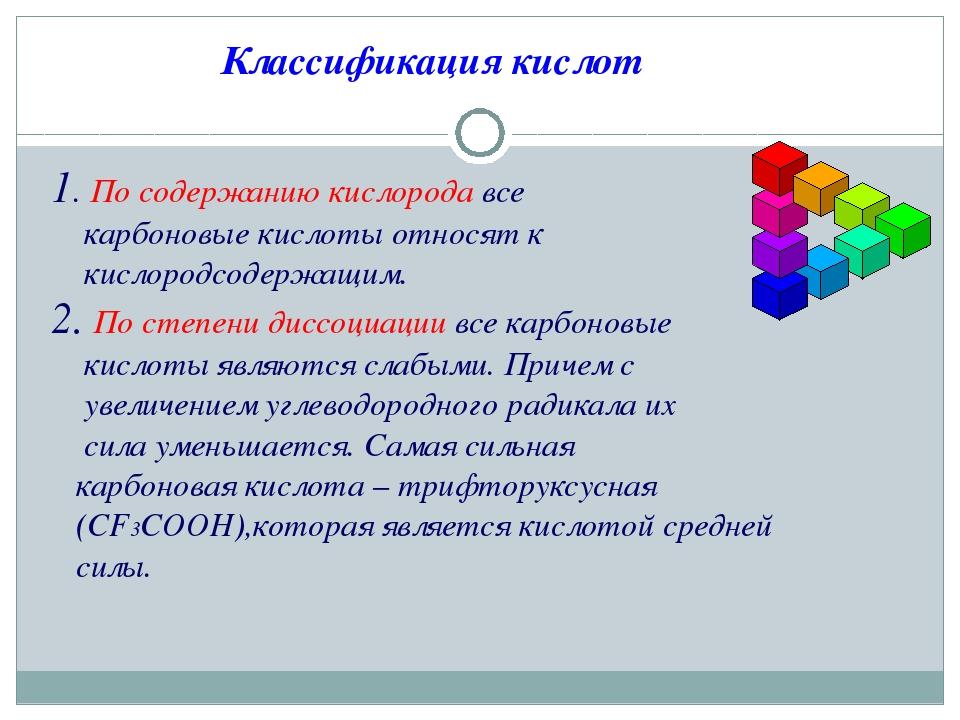Классификация кислот 1. По содержанию кислорода все карбоновые кислоты относя...