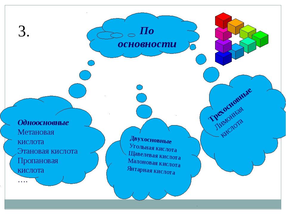 По основности Одноосновные Метановая кислота Этановая кислота Пропановая кисл...