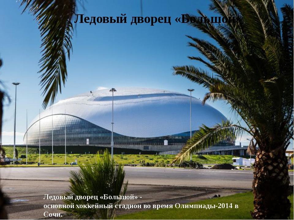 Ледовый дворец «Большой» Ледовый дворец «Большой» - основной хоккейный стад...