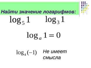 Не имеет смысла Найти значение логарифмов:
