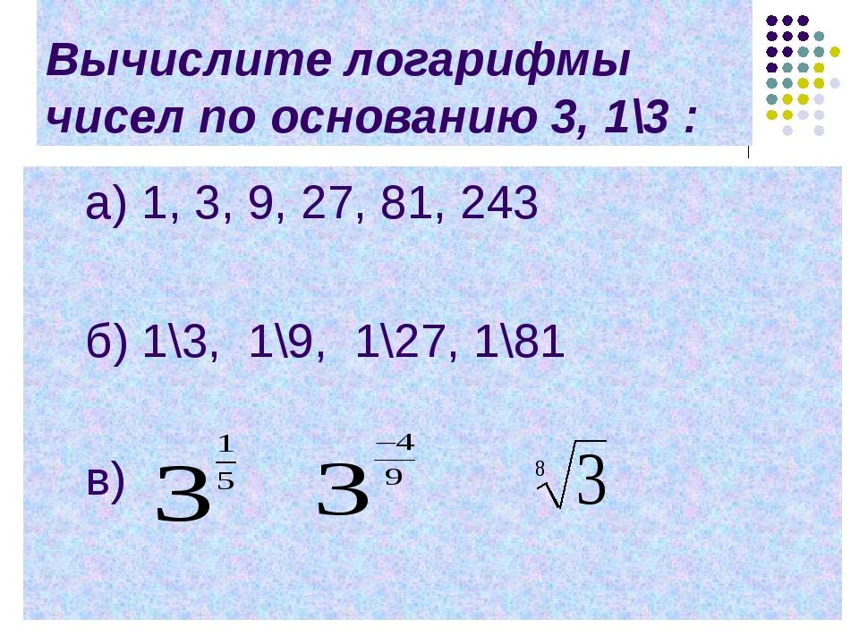 Вычислите логарифмы чисел по основанию 3, 1\3 : a) 1, 3, 9, 27, 81, 243 б) 1\...