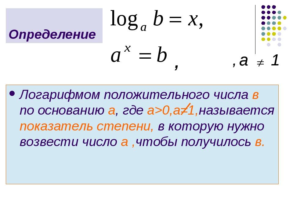 Логарифмом положительного числа в по основанию а, где а>0,a=1,называется пока...