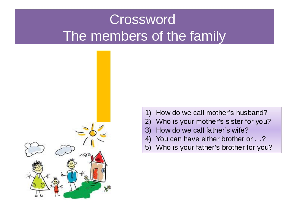 Crossword The members of the family How do we call mother's husband? Who is y...