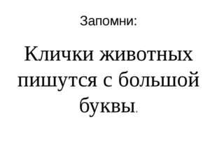 Запомни: Клички животных пишутся с большой буквы.