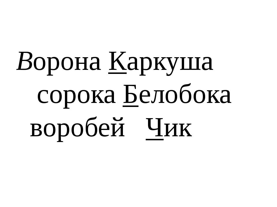 Ворона Каркуша сорока Белобока воробей Чик
