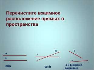 Перечислите взаимное расположение прямых в пространстве aIIb a b b b a a a∩b