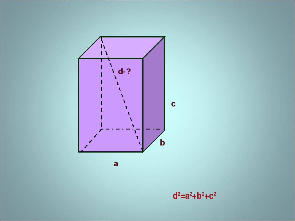 d²=a2+b2+c2 а b c d-?