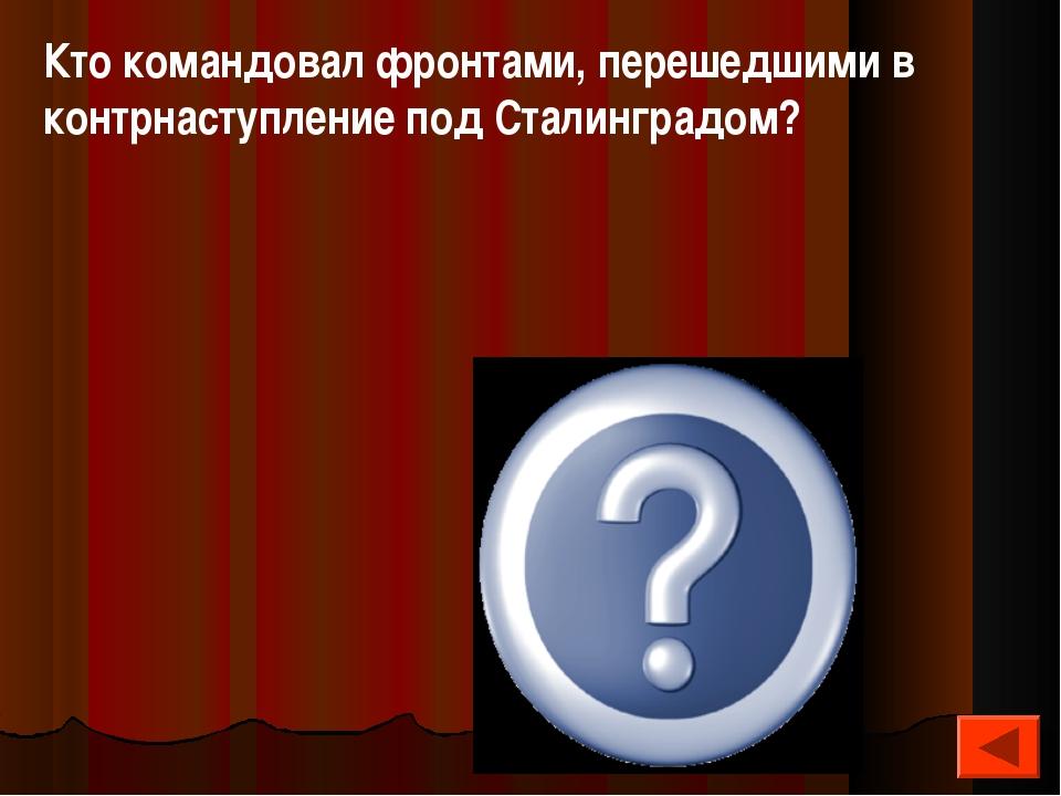 Кто командовал фронтами, перешедшими в контрнаступление под Сталинградом? Ват...