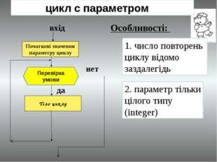 цикл с параметром Початкові значення параметру циклу вхід Тіло циклу нет да