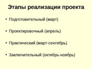 Этапы реализации проекта Подготовительный (март) Проектировочный (апрель) Пра