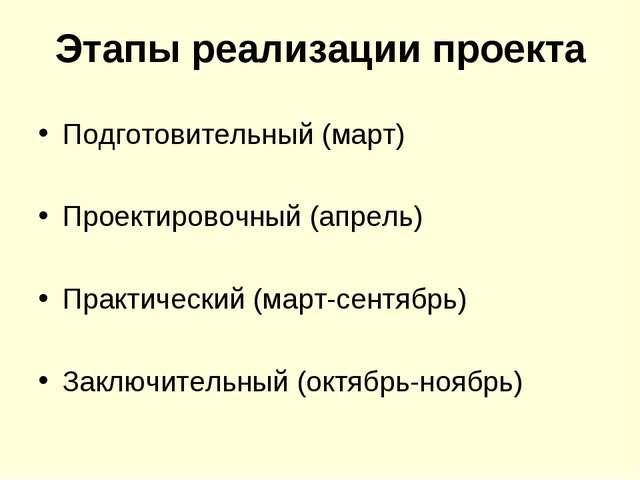 Этапы реализации проекта Подготовительный (март) Проектировочный (апрель) Пра...