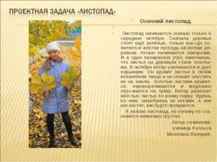 Осенний листопад. Листопад начинается осенью только в середине октября. Снача