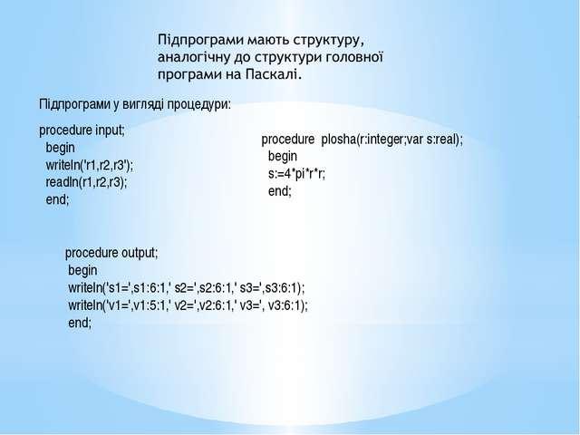 procedure plosha(r:integer; var s:real); begin s:=4*pi*r*r; end; readln(r1, r...