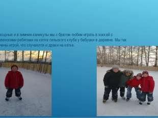 В выходные и в зимние каникулы мы с братом любим играть в хоккей с деревенск