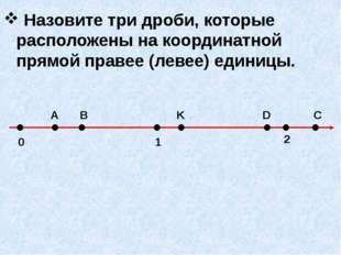 Назовите три дроби, которые расположены на координатной прямой правее (левее