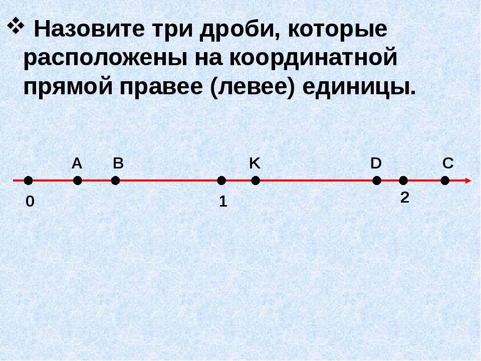 Назовите три дроби, которые расположены на координатной прямой правее (левее...