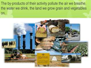 The by-products of their activity pollute the air we breathe, the water we dr