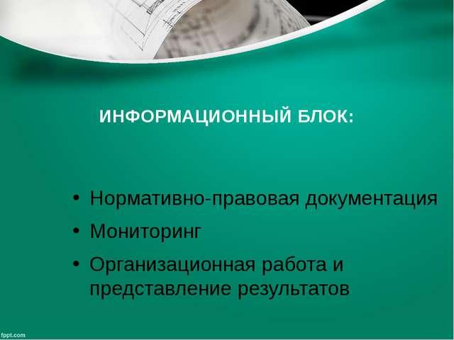 ИНФОРМАЦИОННЫЙ БЛОК: Нормативно-правовая документация Мониторинг Организацион...