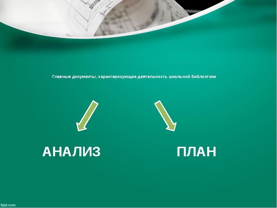 Главные документы, характеризующие деятельность школьной библиотеки АНАЛИЗ ПЛАН