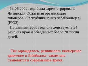 13.06.2002 года была зарегистрирована Читинская Областная организация пионер