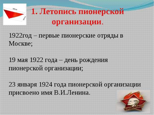 1. Летопись пионерской организации. 1922год – первые пионерские отряды в Моск...