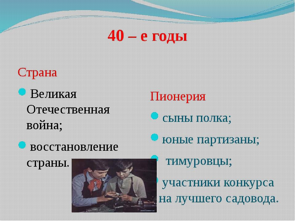 Страна Великая Отечественная война; восстановление страны. Пионерия сыны пол...