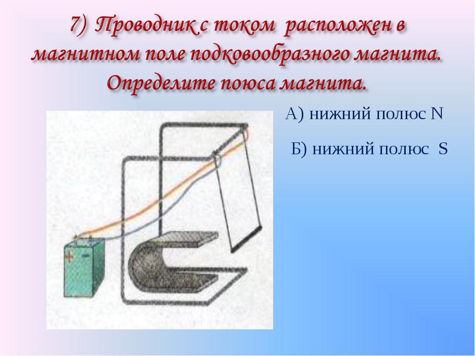 А) нижний полюс N Б) нижний полюс S