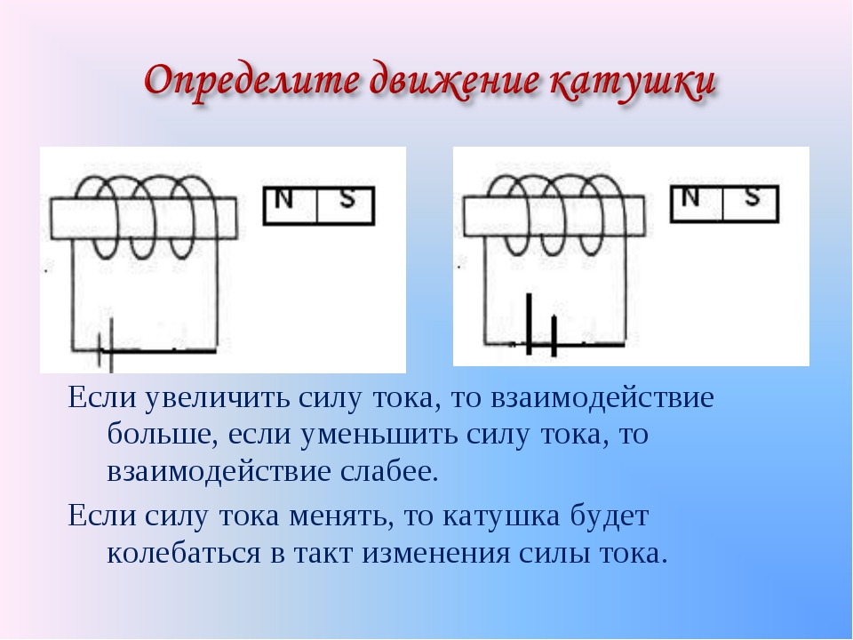 Если увеличить силу тока, то взаимодействие больше, если уменьшить силу тока,...