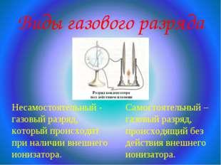 Виды газового разряда Несамостоятельный - газовый разряд, который происходит