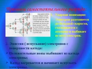Причины самостоятельного разряда: Ударная ионизация: Электрон разгоняется до