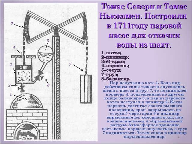Томас Севери и Томас Ньюкомен. Построили в 1711году паровой насос для откачки...