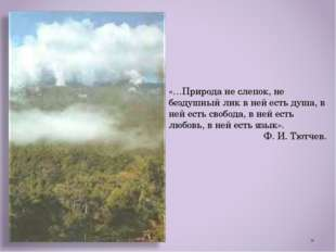 «…Природа не слепок, не бездушный лик в ней есть душа, в ней есть свобода, в