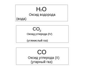 H2O Оксид водорода (вода) CO2 Оксид углерода (IV) (углекислый газ) CO Оксид