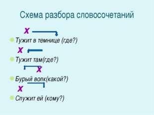 Схема разбора словосочетаний х Тужит в темнице (где?) х Тужит там(где?) х Бур