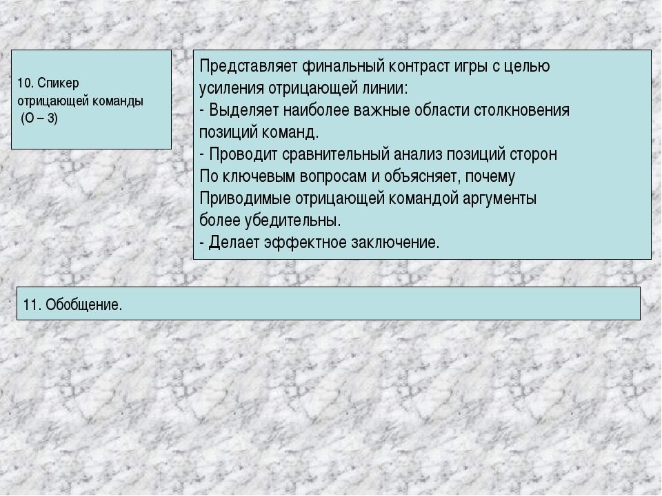 10. Спикер отрицающей команды (О – 3) Представляет финальный контраст игры с...