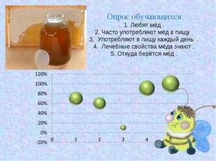 Опрос обучающихся 1. Любят мёд . 2. Часто употребляют мёд в пищу . 3. Употреб