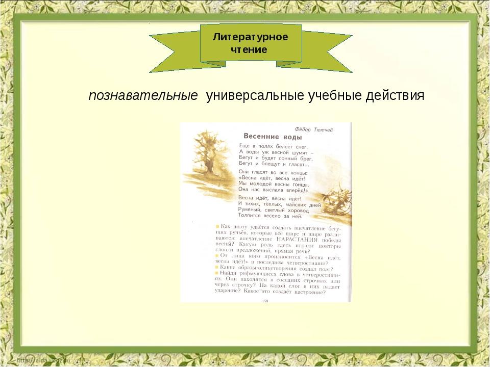 Литературное чтение познавательные универсальные учебные действия