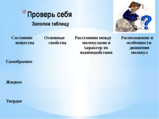Проверь себя Заполни таблицу Состояние вещества Основные свойства Расстояния