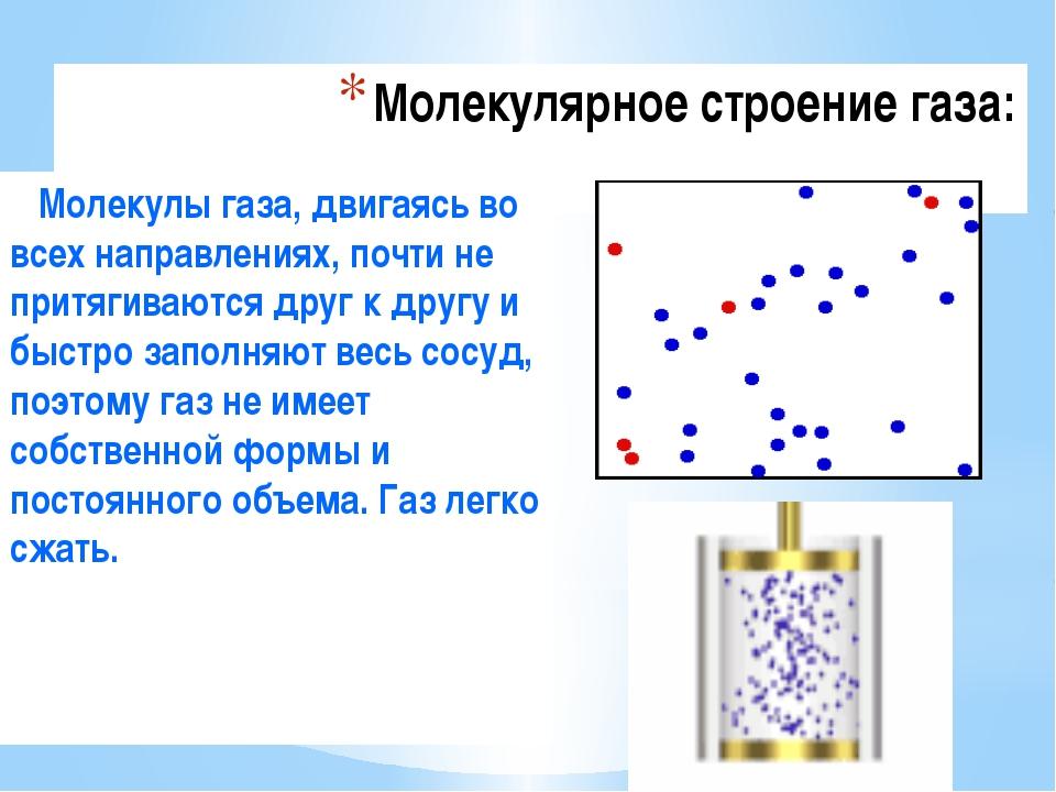 Молекулярное строение газа: Молекулы газа, двигаясь во всех направлениях, поч...