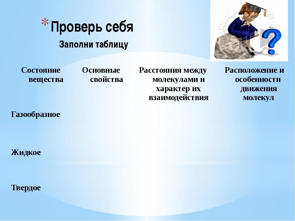 Проверь себя Заполни таблицу Состояние вещества Основные свойства Расстояния...