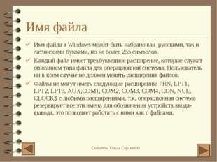 Имя файла Имя файла в Windows может быть набрано как русскими, так и латински